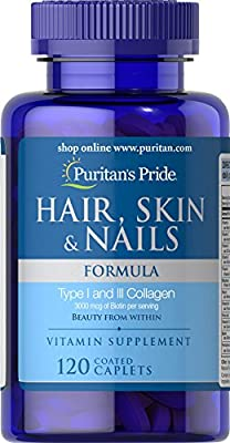 Puritan's Pride Hair, Skin & Nails Formula-120 Caplets