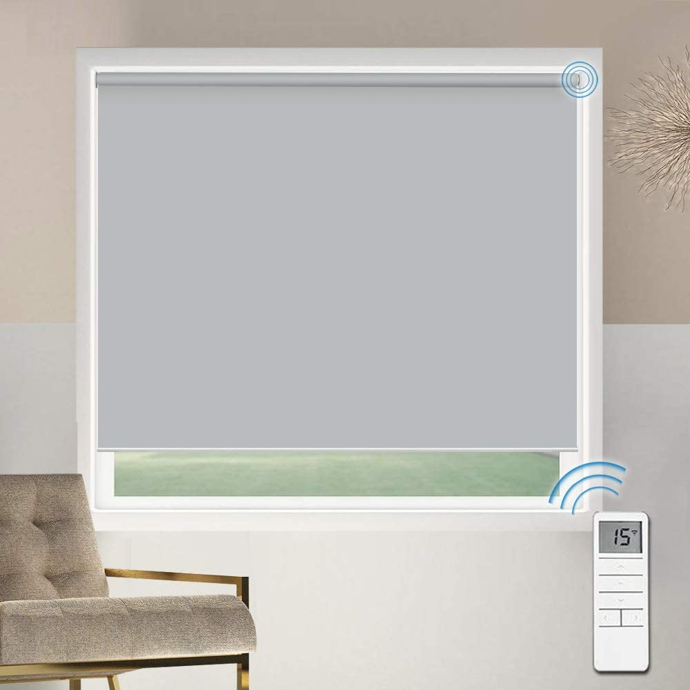 Motorized Blackout Window Shades Blinds, Remote Control Wireless and Rechargeable, Light Grey Roller Shades Blinds for Windows, Home, Office, Hotel, Club, Restaurant, French Door, Sliding Door