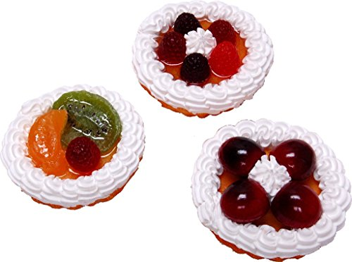 Fruit Tarts Fake Food 3 Inch Assorted 3 Pack by Flora-cal Products