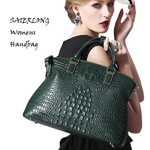 Dark Bags Cowhide Dark green Handbags Genuine SAIERLONG Designer Shoulder green Leather Womens Ladies qnPwpv