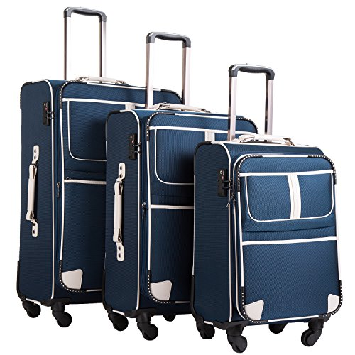 (Coolife Luggage 3 Piece Set Suitcase with TSA lock pinner softshell 20in24in28in (Navy.))