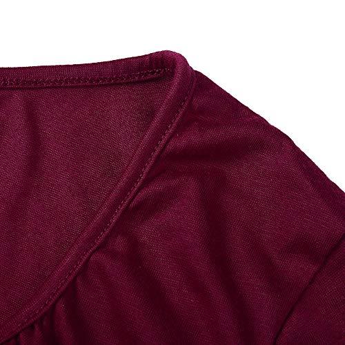 ALIKEEY Robe Bretelles Longue Rouge Poitrine Les sans Chemisier Bretelles Chemise Femmes Vin Manches Taille Longues Haute rr8qdBZ