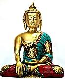 Sitting Buddha Statue, Brass Metal- Coral Turquoise Gemstone Work- Meditating Ashtmangal Decorative Buddha Sculpture
