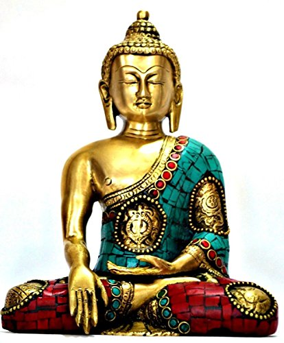 Sitting Buddha Statue, Brass Metal- Coral Turquoise Gemstone Work- Meditating Ashtmangal Decorative Buddha Sculpture