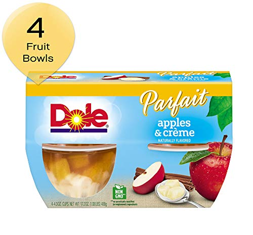 DOLE FRUIT BOWLS, Apples & Creme Parfait, 4.3 Ounce (4 Cups)