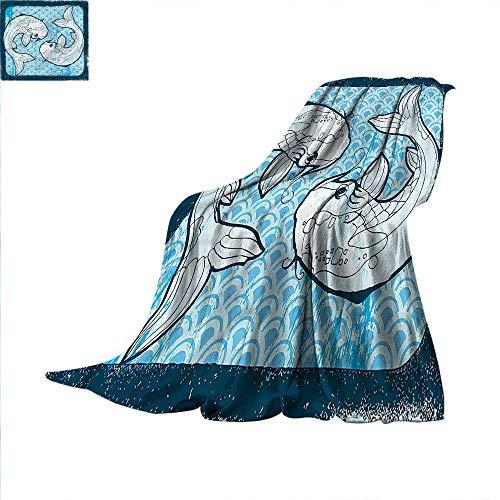 Koi Fish Digital Printing Blanket Ying Yang Oriental Asian Summer Quilt Comforter 70
