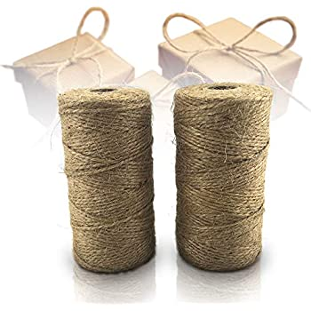 LeBeila Natural Jute Twine String 328 Feet, Brown 2 ply Hemp Cord Industrial Packing Rope Durable Materials Heavy Duty Decorative String For Garden Arts Crafts Gift Bakers Butcher Clothespins Tags