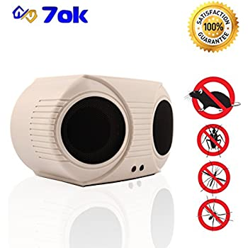7ok - pest repeller. Indoor, electronic - ultrasonic (sonic; sound) pest control, rats and mice repeller, rodent repellent plug in.