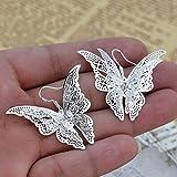Dolland Women's Silver Plated Filigree Butterfly Drop Dangle Hook Earrings