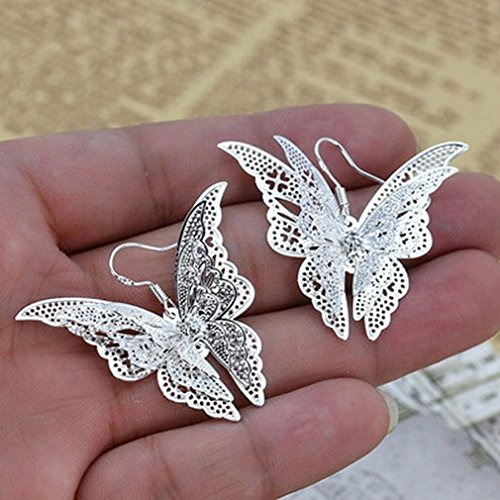 - Dolland Women's Silver Plated Filigree Butterfly Drop Dangle Hook Earrings (Filigree Butterfly)