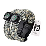 TECH-P® Survival Gear Paracord Bracelet Compass Fire Starter Scraper Whistle Gear Kits- 2 Pack (Multi Camouflage, 10″(Adult))