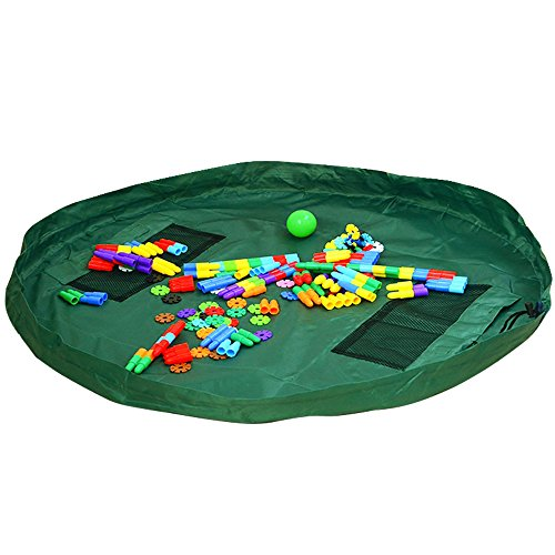 Children's Play Mat and Toys Storage Bag - 60 inch Kids Playbag Toys Organizer Quick Pouch. Great for Storing Medium and Large Size Toy, Portable, Sturdy-Green