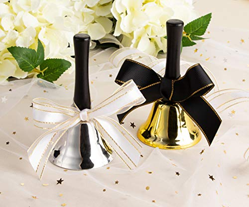 Juvale 12-Pack Set Silver and Gold Steel Service Handbells with Black Wooden Handles for Schools, Dinner Calling, Seniors, Decor, 5 Inches