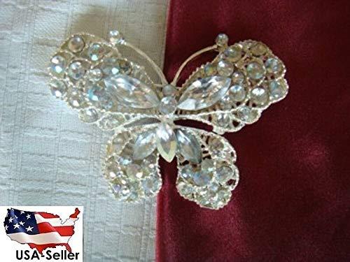 Clear Rhinestone Silver Tone Butterfly Brooch Pin Great Gift #ID-662