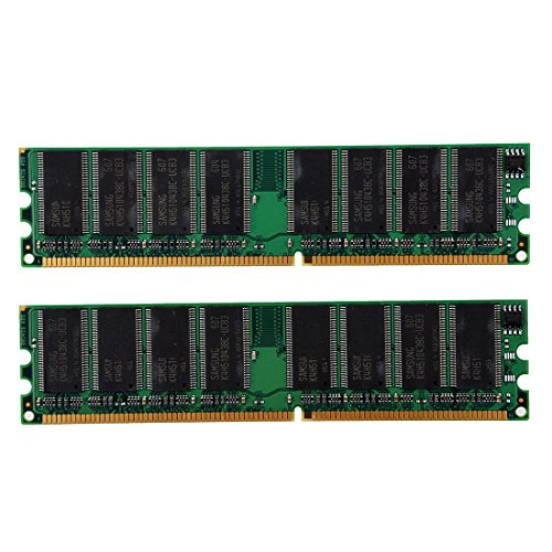 SODIAL 2x 1GB DDR 400 MHz PC3200 PC3200U Non-ECC Desktop PC DIMM Memory RAM - Pin 184 Pc Memory