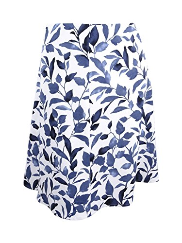 NINE WEST Women's Plus Size Floral Print A-Line Skirt (18W, Navy Multi)