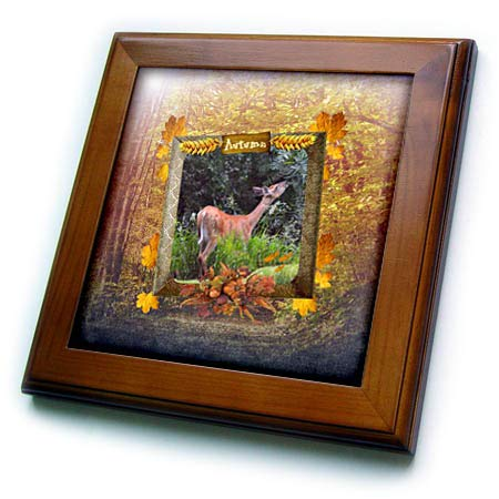3dRose Beverly Turner Autumn Design and Photography - Deer Eating, Autumn Sign on Frame of Leaves and Pumpkins, Forest Print - 8x8 Framed Tile (ft_299601_1)