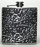 Black & Silver Music Notes 6 oz Stainless Steel Liquor Hip Flask Gift