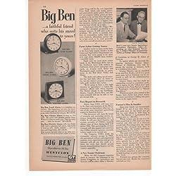 Big Ben Westclox Clock Alarm Chime Electric Home 1950 Farm Antique Advertisement