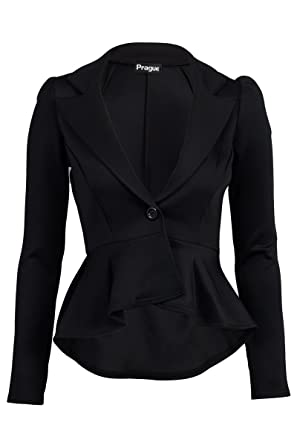 Made By PURL® New Ladies Frill Cropped Peplum Blazer Shift Slim ...
