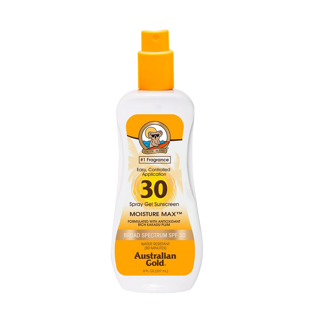 Australian Gold Spray Gel Sunscreen, SPF 30, 8 Ounce | Moisture Max | Infused with Aloe Vera | Broad Spectrum | Water Resistant