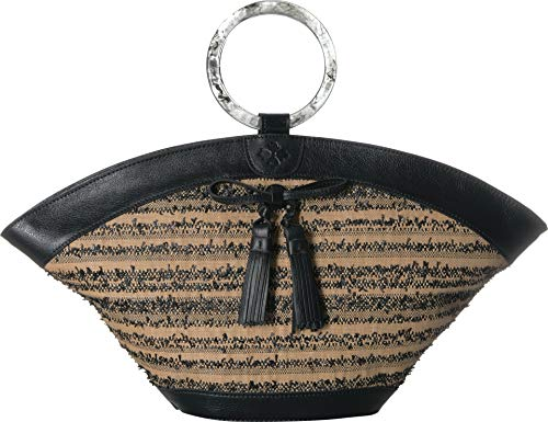 Satchel Woven Slip (Patricia Nash Women's Ebbe Woven Straw Mandia Dome Satchel Black One Size)