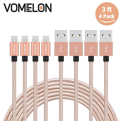 Fits Most 2' Receivers (Lightning Cable, 4Pack 3FT Nylon Braided Lightning to USB Syncing and Charging Cable Data Cord Compatible with iPhone 7/7 Plus/6S/6 Plus, SE/5S/5, iPad, iPod Nano 7-[Golden+Silver])