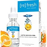 Lactic Acid Chemical Gel Peel Serum 10% - Anti-Aging Facial Exfoliant Naturally Derived From Soy (Professional Chemical Peel Kit) Facelift in a Bottle Plumps Fine Lines and Wrinkles 1oz