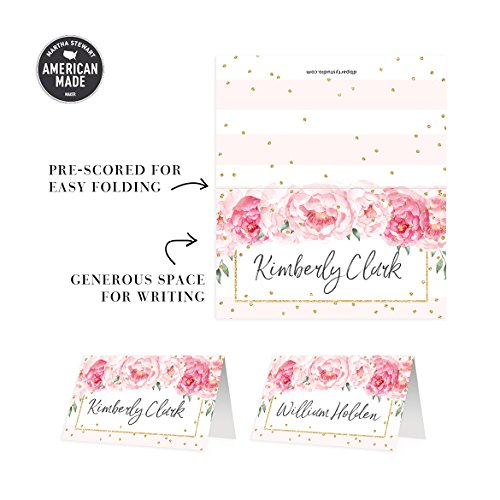 """50 Pack Table Place Cards All Occasion Assigned Seating Escort Placecard Blush Pink Peonies Scored Folded Tented 3.5"""" x 2"""" Fill-In Blank Girl Baby Shower Woman Milestone Birthday Party"""