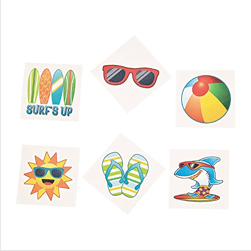 Fun Express Summer Beach Luau Themed Temporary Tattoos Party Favors - 72 Piece (Beach Themed Pool)