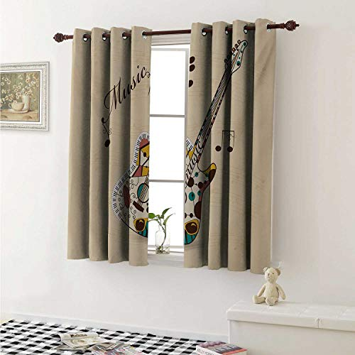 (shenglv Guitar Room Darkening Wide Curtains Abstract Funky Guitar Instrument Melody Musical Notes and Hand Writing Window Curtain Drape W108 x L72 Inch Sand Brown Multicolor )
