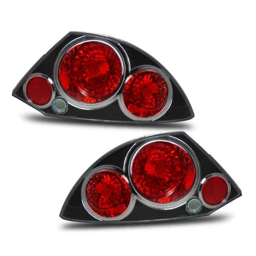 SPPC Taillights Black Assembly Set For Mitsubishi Eclipse - (Pair) Driver Left and Passenger Right Side Replacement