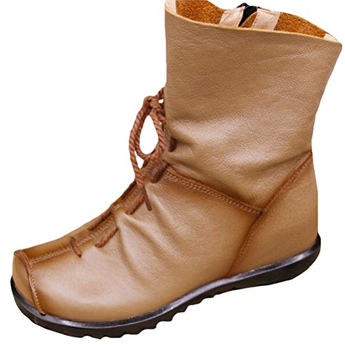 Zip Deep Boots MatchLife Leather Vintage Women Camel Shoes Fleece Style3 Floral RxYatxw