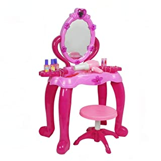 Goodvk Comò per Trucco Specchio per Ragazza Glamour Dresser Vanity Beauty Set | Principessa Rosa Finta Gioca con Gioielli e Accessori Specchio per Il Trucco Set Giocattolo