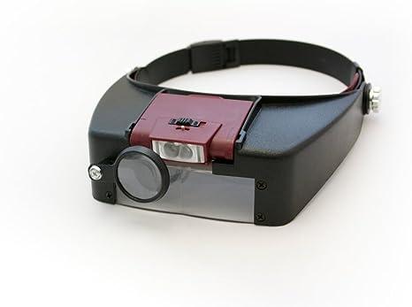2 LED Stirnlupe 1,5-10x Vergrößerung Kopflupe Lupe Licht Lupenbrille