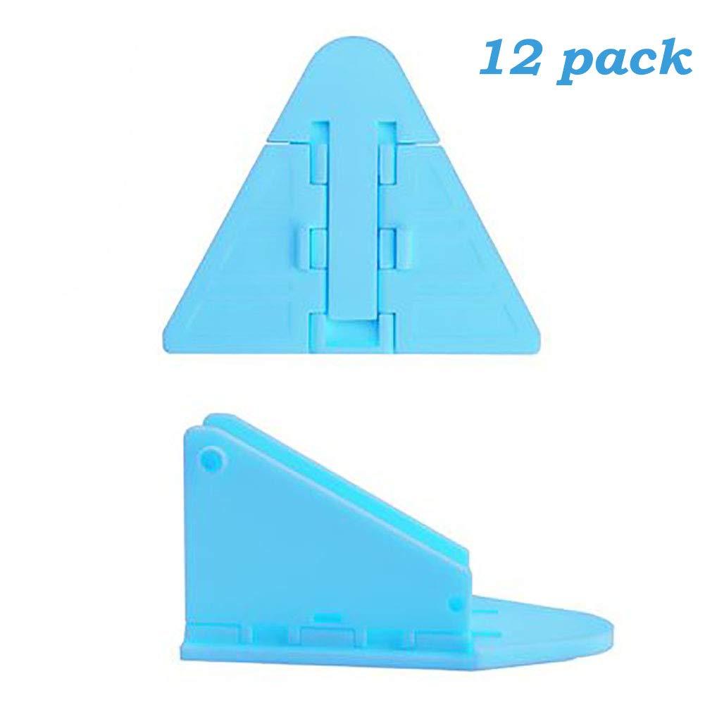 12 Packs Sliding Door Window Closet Lock - Baby Kids Children Pets Security Safe Sliding Locks with 3M Adhesive Tape, Blue