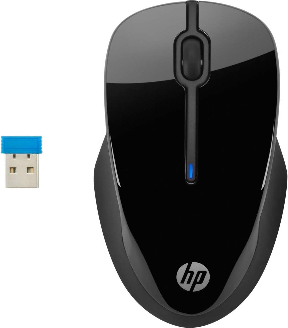 HP 220 Wireless Mouse Blue LED Technology Black Contoured and Ergonomic
