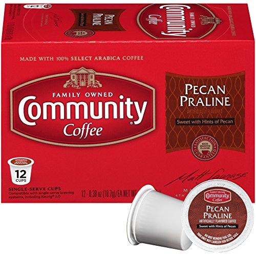 Community Coffee Pecan Praline Flavored, Medium Roast, 12 Count Single Serve Coffee Pods, Pack of 6, Compatible with Keurig K-Cup (Southern Praline)