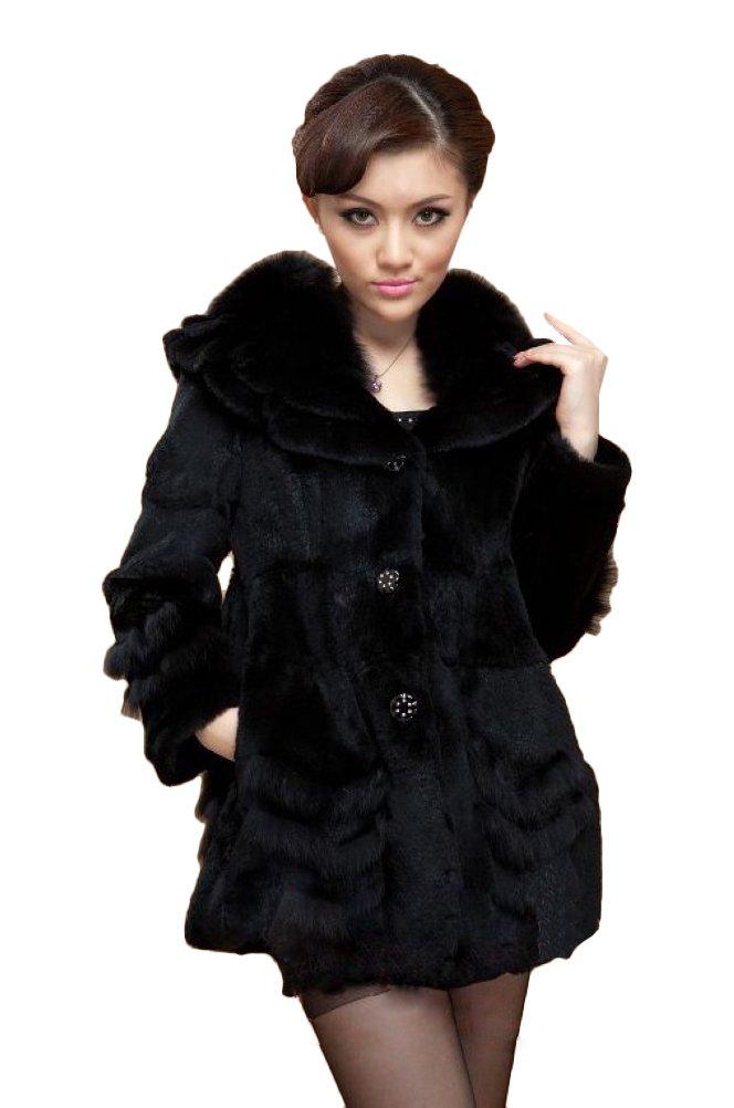 Queenshiny Women's 100% Real Rex Rabbit Fur Coat Jacket with Fox Trim with Fox Collar-Black-S(4-6) by Queenshiny