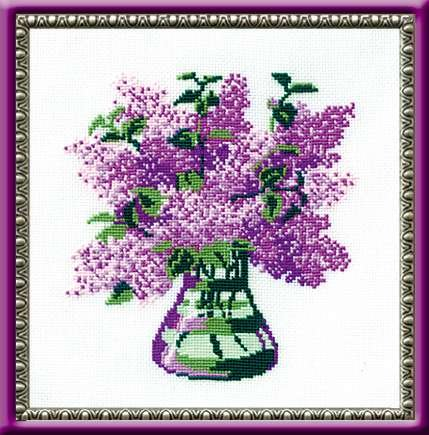 Riolis cross stitch kit 603 Bunch of Lilacs flowers STICKPAC