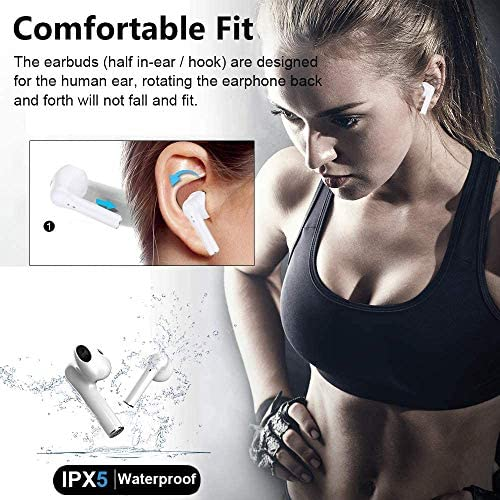 Bluetooth 5.0 Headphones [25Hrs Charging Case] Intelligent Noise Reduction HD Stereo in-Ear Earphones for iPhone/Samsung/Android/AirPods professional