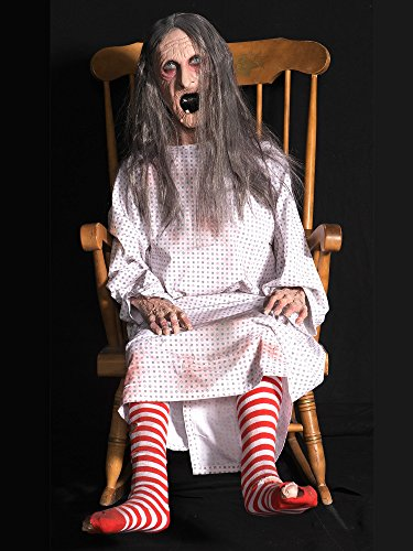 Distortions Unlimited Rocking Granny Witch Old Hag Scary Animated Halloween Haunted Prop -