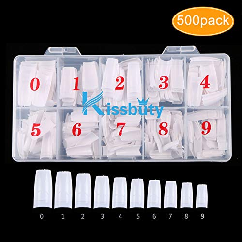 Kissbuty 500 PCS Fake Nails  Full Cover White French Acrylic Style Artificial False Nails Tips with Box(White French)