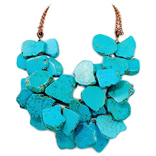 002 Ny6Design 2 strands Blue Magnesite Turquoise Nugget Necklace w/Copper Clasp 19.5