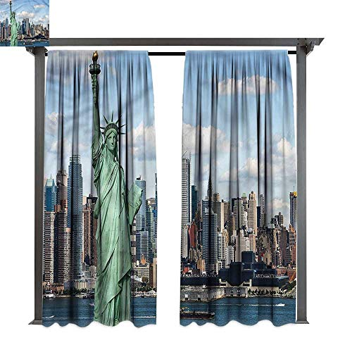 cobeDecor Thermal Insulated Drapes New York Statue of Lberty NYC for Lawn & Garden, Water & Wind Proof W120 -