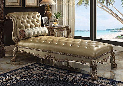 1PerfectChoice Dresden Elegant Claw Foot Chaise Lounge Sofa Chair Gold Patina Bone PU w/ Pillow