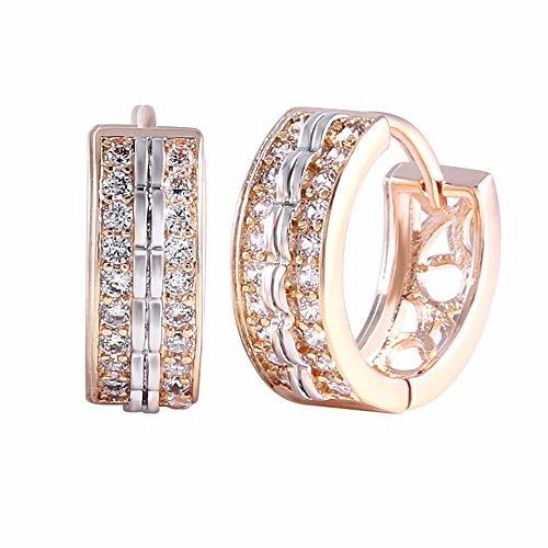 Crystal Cubic Zirconia Diamond Rose Gold Hoop Earrings