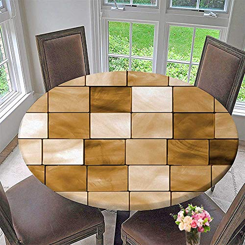 Luxury round table cloth for home use Collection Faded Tiles Wood Cubes Squares Geometric Inspired Modern Simple Urban Boho Chic for Buffet Table, Holiday Dinner 47.5