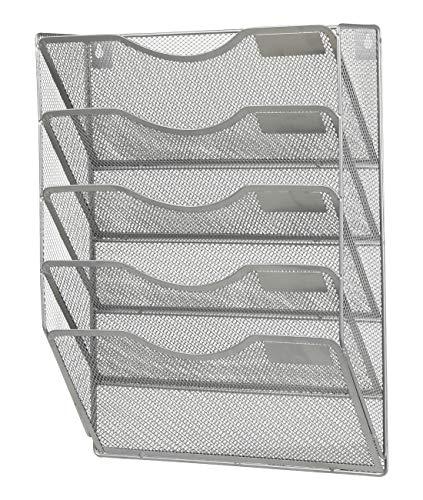 Denozer Mesh 5 Slot Wall Mount Hanging File Organizer Holder Magzine Rack,Silver