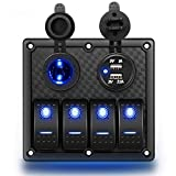 Nilight 4 Gang Rocker Switch Panel Waterproof